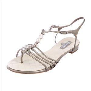Chanel braised T-strap flat Sandal